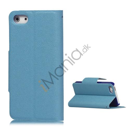 Magnetisk Mat Læder Kreditkort Wallet Stand Case iPhone 5 cover - Baby Blå