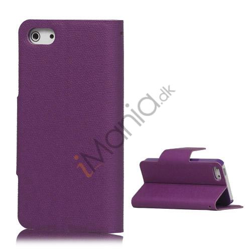 Magnetisk Mat Læder Kreditkort Wallet Stand Case iPhone 5 cover - Lilla