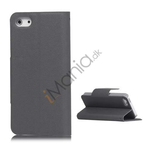 Image of   Magnetisk Mat Læder Kreditkort Wallet Stand Case iPhone 5 cover - Grå