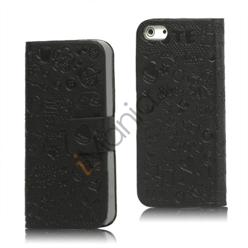 Billede af Sød Tegneserie Magnetisk læder tegnebog Case iPhone 5 cover - Sort