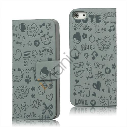 Billede af Sød Tegneserie Magnetisk læder tegnebog Case iPhone 5 cover - Grå