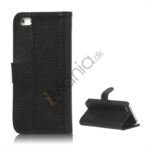 Image of   Ægte Læder Flip Wallet Kreditkort Stand Case til iPhone 5 - Sort
