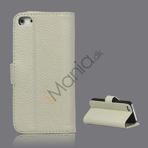 Image of   Ægte Læder Flip Wallet Kreditkort Stand Case til iPhone 5 - Hvid
