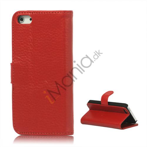 Image of   Ægte Læder Flip Wallet Kreditkort Stand Case til iPhone 5 - Rød