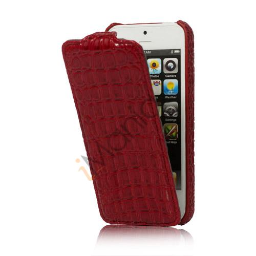 Image of   Slim Krokodille Læder Taske iPhone 5 cover - Rød