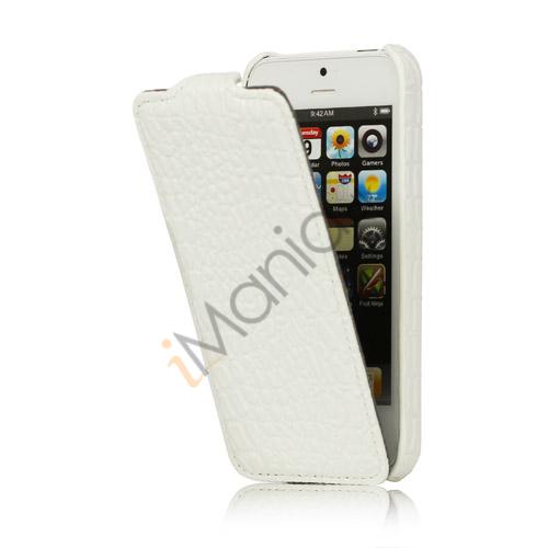 Image of   Slim Krokodille Læder Taske iPhone 5 cover - Hvid