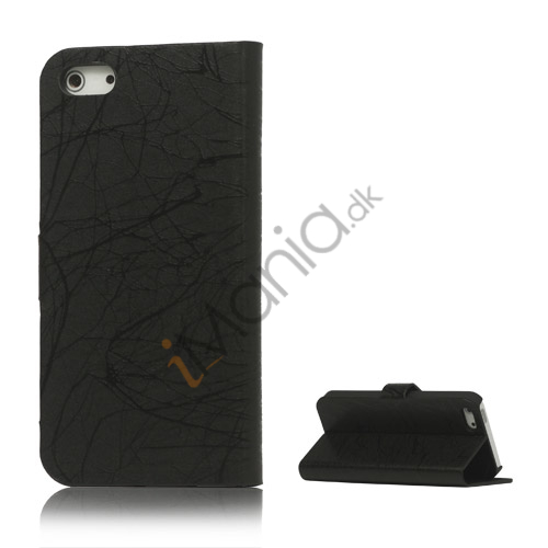 Image of   Spredt Linie PU Læder Flip Stand Case til iPhone 5 - Sort