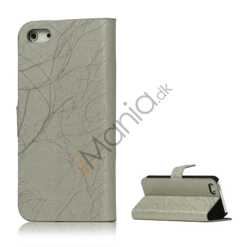 Spredt Linie PU Læder Flip Stand Case til iPhone 5 - Grå