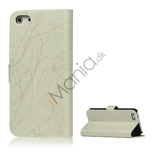 Image of   Spredt Linie PU Læder Flip Stand Case til iPhone 5 - Hvid