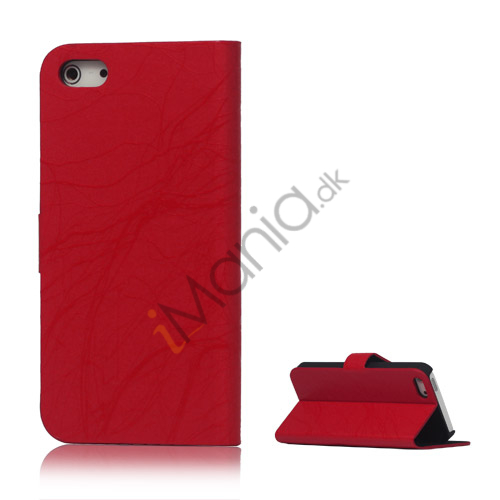 Image of   Spredt Linie PU Læder Flip Stand Case til iPhone 5 - Rød