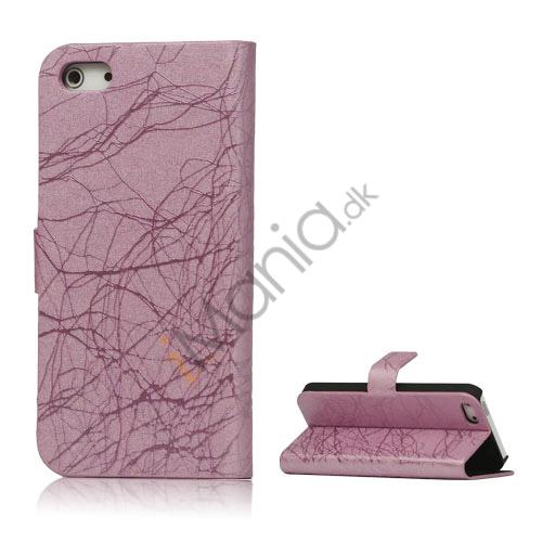 Image of   Spredt Linie PU Læder Flip Stand Case til iPhone 5 - Pink