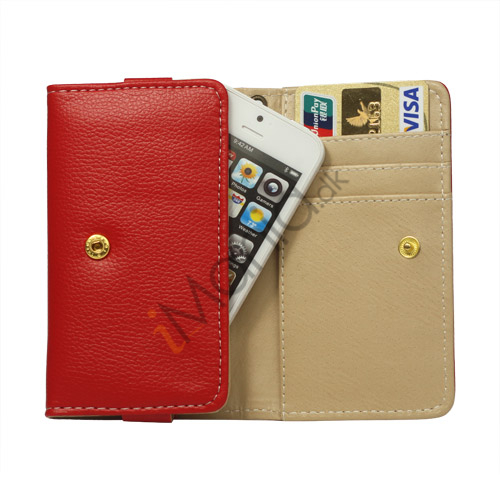 Image of   iPhone 5 Wallet Læder Case Cover med tryklås - Rød