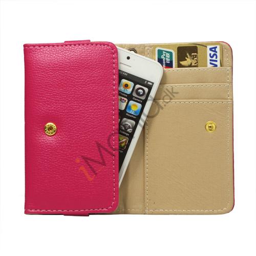 Læder pung Taske med tryklås til iPhone 5 - Rose