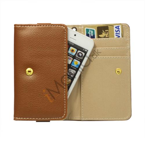 Wallet Læder Taske med tryklås til iPhone 5 - Brun