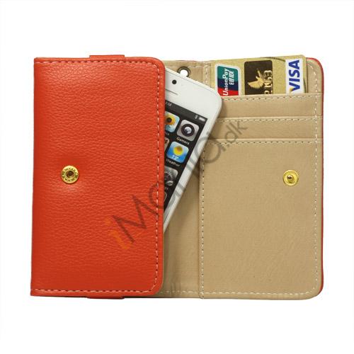 Wallet Læder Taske med tryklås til iPhone 5 - Orange