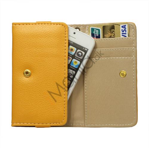 Wallet Læder Taske med tryklås til iPhone 5 - Gul