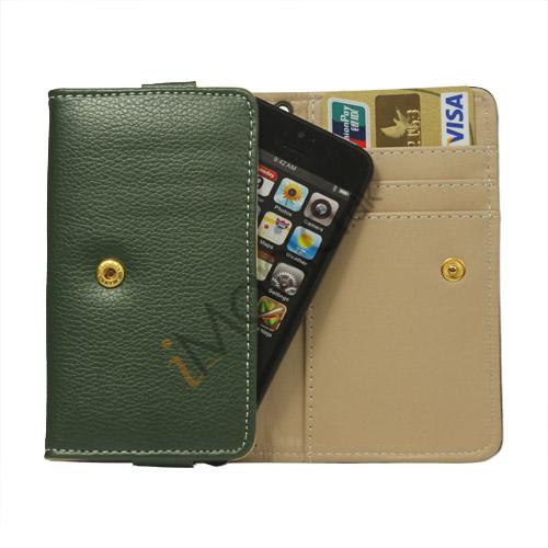 Wallet Læder Taske med tryklås til iPhone 5 - Mørk Grøn