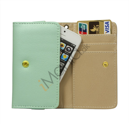 Wallet Læder Taske med tryklås til iPhone 5 - lysegrøn