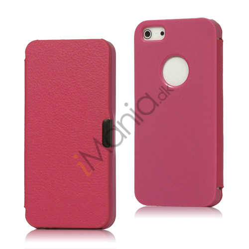 Plastik og Læder Flip Hybrid Case iPhone 5 cover - Rose