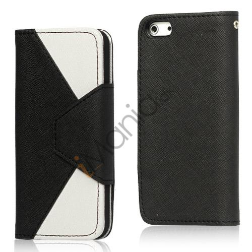 To-Tone læder tegnebog Case til iPhone 5 - Hvid / Sort