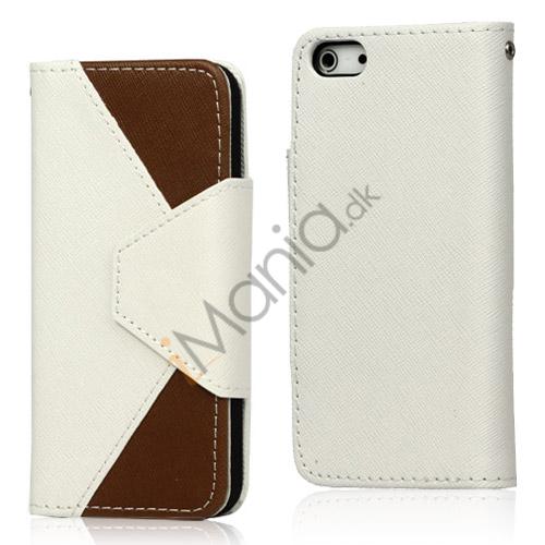 To-Tone læder tegnebog Case til iPhone 5 - Hvid / Brun