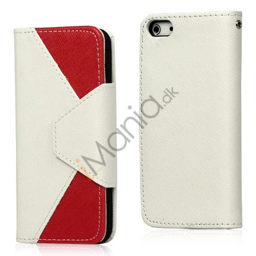 To-Tone læder tegnebog Case til iPhone 5 - Hvid / Rød