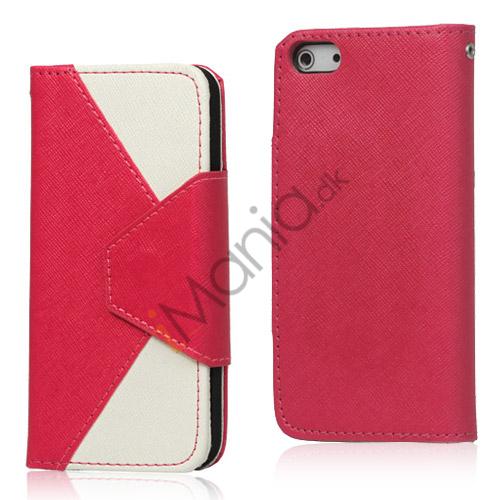 To-Tone læder tegnebog Case til iPhone 5 - Hvid / Rose