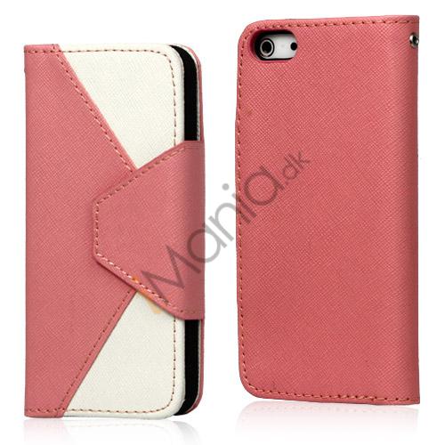 To-Tone læder tegnebog Case til iPhone 5 - Hvid / Pink
