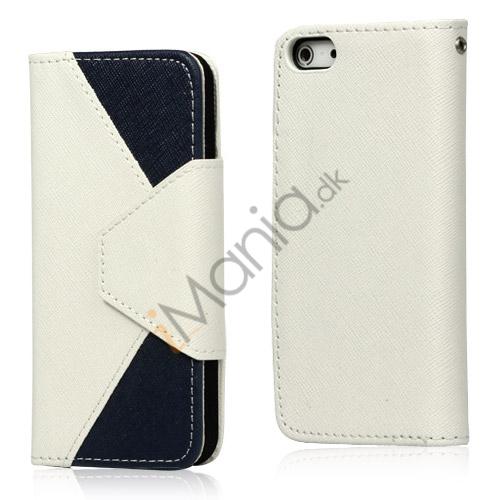 To-Tone læder tegnebog Case til iPhone 5 - Hvid / Mørk Blå