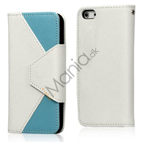 To-Tone læder tegnebog Case til iPhone 5 - Hvid / Lyseblå