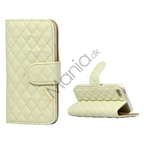Grid Mønster Magnetisk Wallet Card Stand Lædertaske til iPhone 5 - Hvid