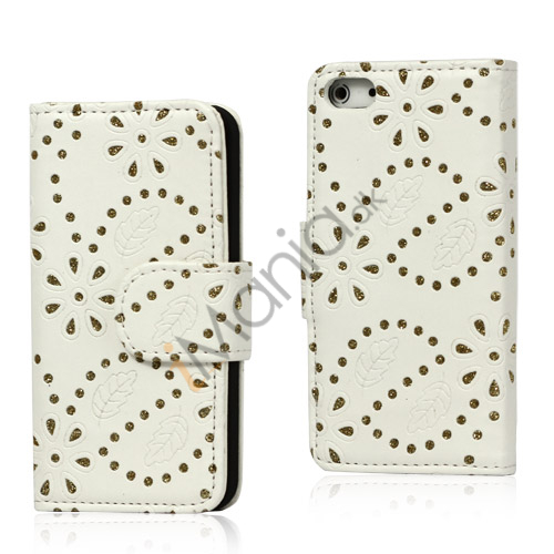 Glitrende Powder Floral læder tegnebog Case til iPhone 5 - Hvid
