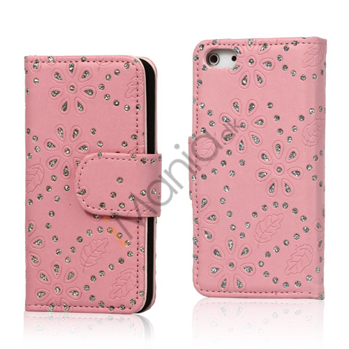 Image of   Glitrende Powder Floral læder tegnebog Case til iPhone 5 - Pink
