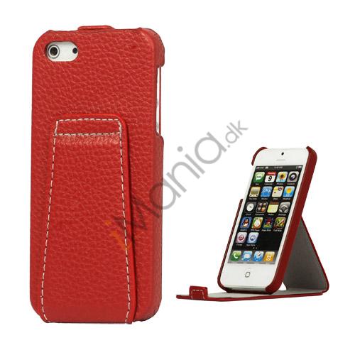 Image of   Lodret Lychee Læder Stand Case til iPhone 5 - Rød