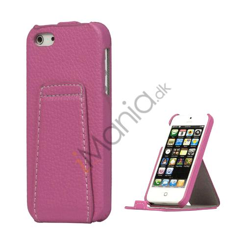 Billede af Lodret Lychee Læder Stand Case iPhone 5 cover - Violet
