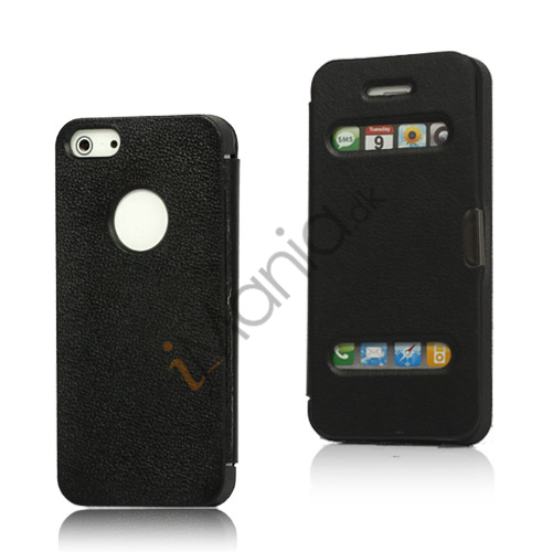 Image of   Mønstret Plastic and Læder Hybrid Flip Case til iPhone 5 - Sort