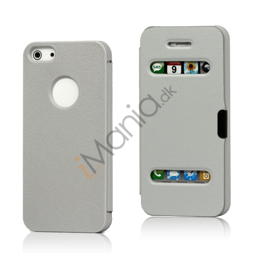 Image of   Mønstret Plastic and Læder Hybrid Flip Case til iPhone 5 - Grå