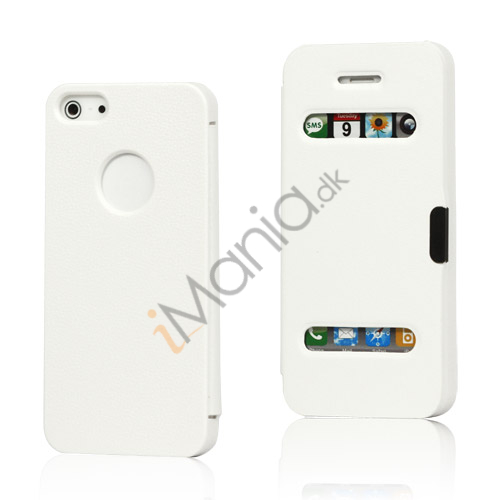 Image of   Mønstret Plastic and Læder Hybrid Flip Case til iPhone 5 - Hvid