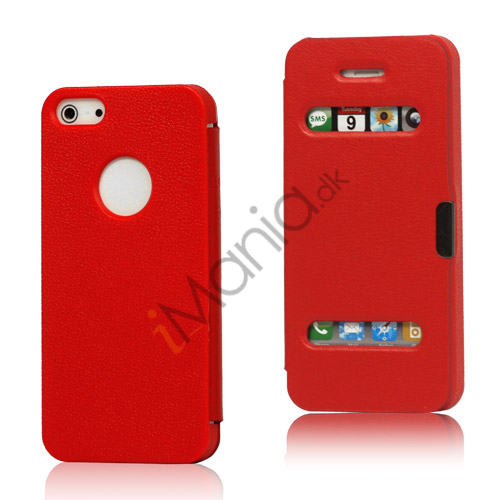 Image of   Mønstret Plastic and Læder Hybrid Flip Case til iPhone 5 - Rød
