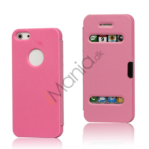 Image of   Mønstret Plastic and Læder Hybrid Flip Case til iPhone 5 - Pink