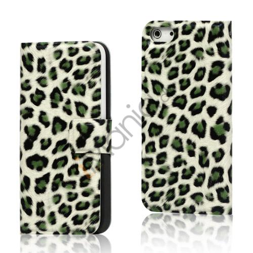 Image of   Leopard Magnetisk læder tegnebog Case iPhone 5 cover - Grøn