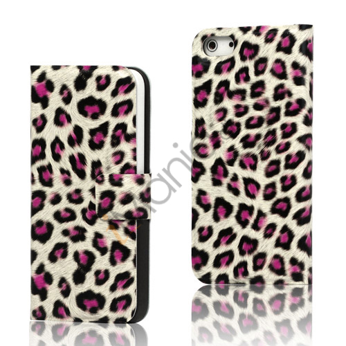 Image of   Leopard Magnetisk læder tegnebog Case iPhone 5 cover - Rose