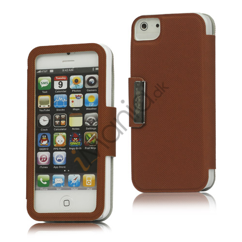 Image of   Folio Style PU Læder Magnetisk Case iPhone 5 cover - Brun