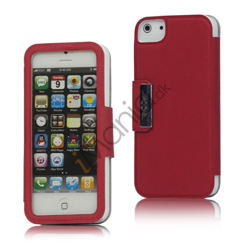 Image of   Folio Style PU Læder Magnetisk Case iPhone 5 cover - Rød