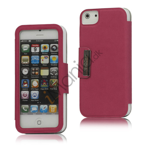 Folio Style PU Læder Magnetisk Case iPhone 5 cover - Rose