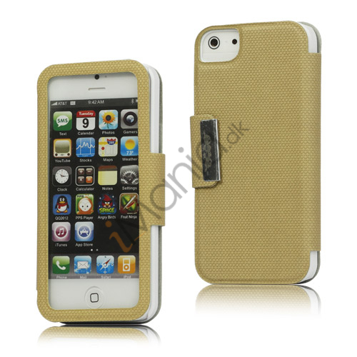 Image of   Folio Style PU Læder Magnetisk Case iPhone 5 cover - Beige