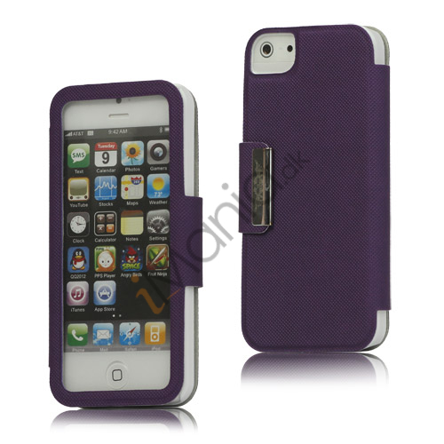 Image of   Folio Style PU Læder Magnetisk Case iPhone 5 cover - Lilla