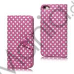 Image of   Polkaprikket Magnetisk Wallet Læder Taske iPhone 5 cover - Pink