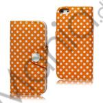 Image of   Polkaprikket Magnetisk Wallet Leather Case iPhone 5 cover - Orange