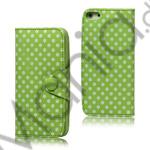 Image of   Polkaprikket Magnetisk Wallet Leather Case iPhone 5 cover - Grøn